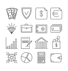 Money finance payments thin line icons vector image