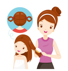 Mother brushing daughter hair vector