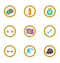 Murder equipment icons set cartoon style vector
