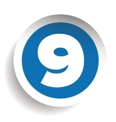 Number Nine sticker blue vector image
