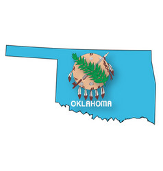 Oklahoma outline map and flag vector