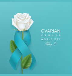 ovarian cancer world day background with ribbon vector image