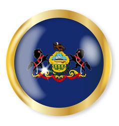 pennsylvania flag button vector image