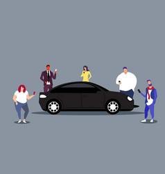 People using smartphones car sharing vector