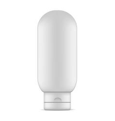 Plastic shampoo bottle with flip cap mockup vector