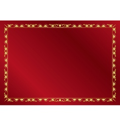 red elegant card with golden frame vector image