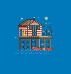 red fisherman stilt house and boat vector image