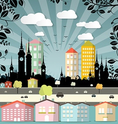Retro Flat Design City vector image