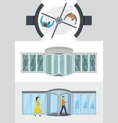 Revolving door banner concept set flat style vector