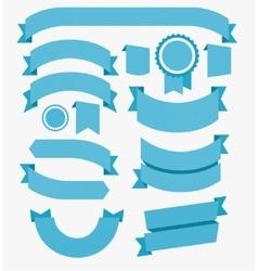 Ribbons Flat Design Set Blue vector image vector image