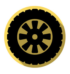 Road tire sign flat black icon with flat vector