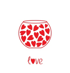 Round vase with hearts Love card vector