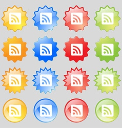 RSS feed icon sign Big set of 16 colorful modern vector