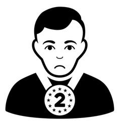 Sad 2nd prizer sportsman black icon vector