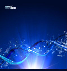 Science concept image of human dna blue light vector