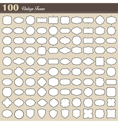 set 100 blank vintage frame on white background vector image