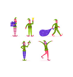 set cute playful christmas elves collection of vector image