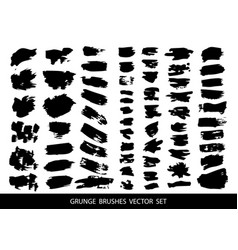 set of black brushes vector image vector image
