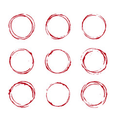 Set of wine glass stain circle vector