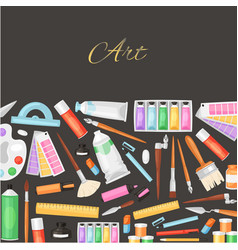 Set paints brushes art objects black background vector