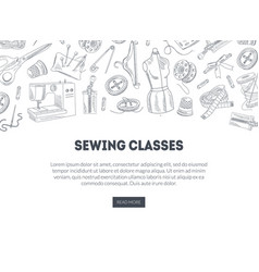 Sewing classes landing page with hand drawn sewing vector