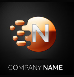 silver letter n logo gold dots splash and bubble vector image