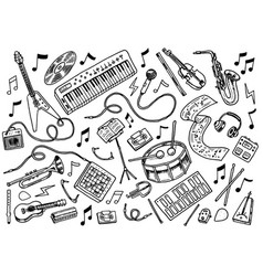 Simple set of music related line icons vector
