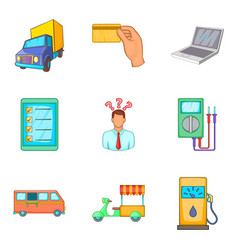 Street trade icons set cartoon style vector