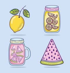 Summer juice and popsicle vector