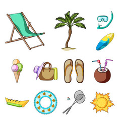 summer rest cartoon icons in set collection for vector image