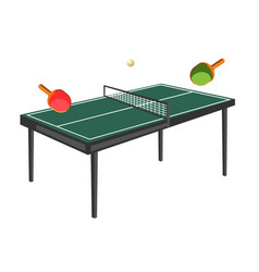 table tennis with green field wooden rackets and vector image
