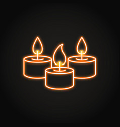 Tealight candles icon in neon line style vector