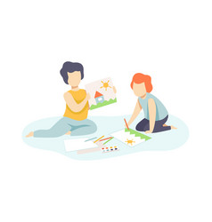 two cute boys sitting on floor and drawing kids vector image