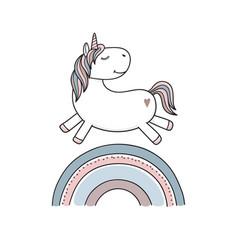 Unicorn on rainbow vector