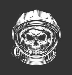 Vintage astronaut skull in space helmet vector