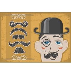 Vintage gentleman face vector image