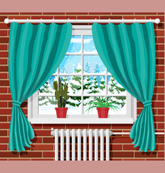 Winter window with curtains view from room vector