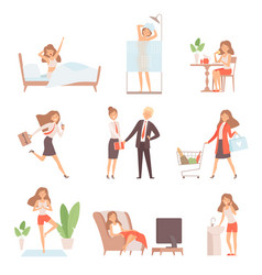 Woman daily routine lifetime mother business vector