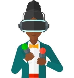 Woman in oculus rift vector