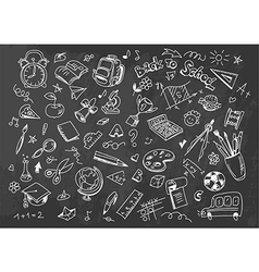 Back to school drawing background on chalkboard vector image vector image