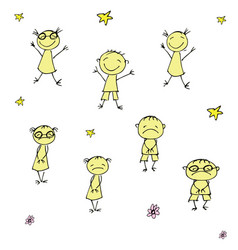 Funny and sad doodle children hand drawn vector