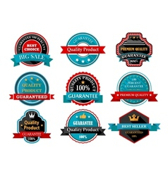 Quality guarantee retro labels collection vector image