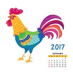 Roosters calendar september vector