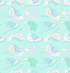 Vintage seamless pattern of sneakers vector image