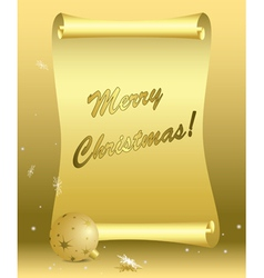 golden card - merry christmas vector image