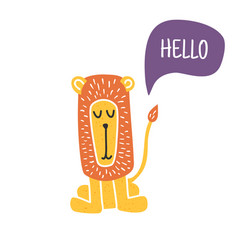hello lion vector image vector image
