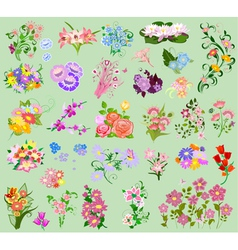 set flowers4 vector image vector image