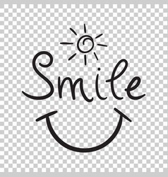 smile text icon hand drawn on isolated background vector image