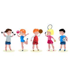cartoon kids sports characters set vector image vector image
