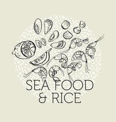 concept hand drawn sea food elements vector image
